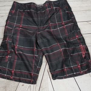 No Fear Men's Plaid Cargo Shorts Sz 34